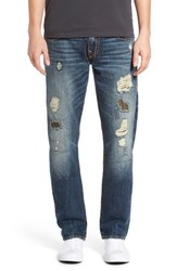 True Religion Men's Big And Tall Brand Jeans 'Geno' Straight Leg Jeans Dfzd Patched Recruit
