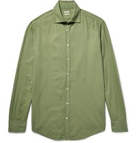 Massimo Alba Genova Brushed Modal And Cotton Blend Shirt Green
