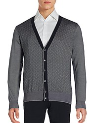 Brioni Textured Cotton Blend Long Sleeve Cardigan Blue