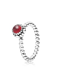 Pandora Design Pandora Ring Sterling Silver And Garnet Birthday Blooms January Silver Garnet