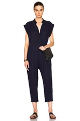 Sea Button Up Jumpsuit In Blue