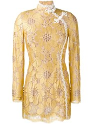 Alessandra Rich Flower Embroidered Mini Dress Yellow And Orange