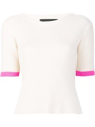 The Elder Statesman Shortsleeved Ribbed Blouse Nude Neutrals