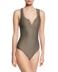Heidi Klein Huntington Beach Zip Front One Piece Swimsuit Gray