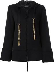 Twin Set Chain And Lace Hoodie Black