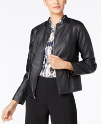 Alfani Petite Faux Leather Jacket Only At Macy's Deep Black