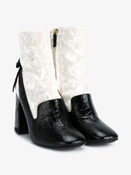 Erdem Leather And Velvet Boots Black White