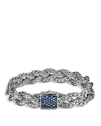 John Hardy Classic Chain Silver Small Braided Chain Silver Bracelet With Blue Sapphires Blue Silver