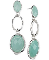 Jones New York Silver Tone Oval Stone Triple Drop Earrings