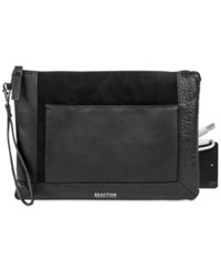 Kenneth Cole Reaction Large Pouch Wristlet With Portable Battery Charger Black