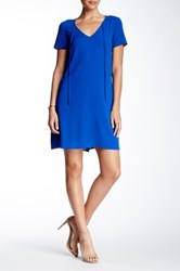 Daniel Rainn Short Sleeve V Neck Dress Blue