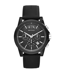 Armani Exchange Ax1326 Ip And Silicone Watch Black