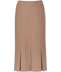 Cc Wool Crepe Box Pleat Skirt Beige
