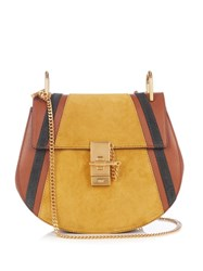 Chloe Drew Small Calf Leather And Suede Cross Body Bag Tan Multi
