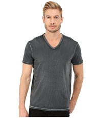 John Varvatos Short Sleeve Knit V Neck K677r4b Graphite Men's T Shirt Gray