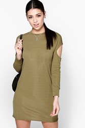 Lucy Cold Shoulder Long Sleeve Shift Dress