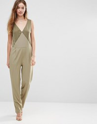 Shades Of Grey Triangle Panel Jumpsuit Olive Green