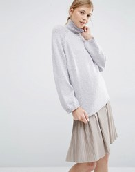 Paisie Turtleneck Jumper With Bell Sleeves Lilac Purple