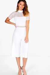 Boohoo Crochet High Neck Culotte Jumpsuit Ivory