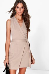 Boohoo Obi Tie Sleeveless Wrap Dress Taupe