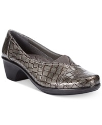 Easy Street Shoes Easy Street Chive Slip On Flats Women's Shoes Pewter Patent Crocco