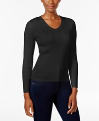 Karen Scott Petite V Neck Sweater Only At Macy's Deep Black