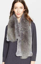 Fabiana Filippi Genuine Rabbit And Fox Fur Scarf Slate