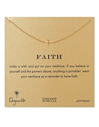 Dogeared Faith Sideways Cross Necklace Gold