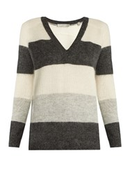 Vince Raglan Sleeved Sweater Grey Stripe