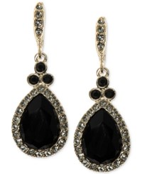 Givenchy Gold Tone Faceted Teardrop Drop Earrings Black