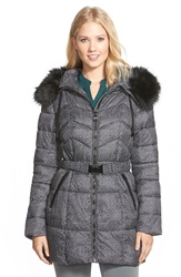 Guess Faux Fur Trim Print Belted Quilted Coat Black White Tweed