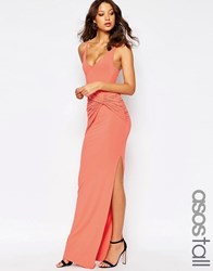Asos Tall Strappy Knot Maxi Dress Coral Red