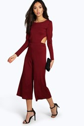 Boohoo Open Back Culotte Jumpsuit Berry