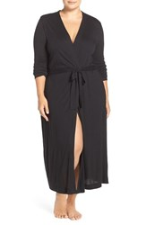 Yummie Tummie Plus Size Women's By Heather Thomson Long Jersey Robe Black