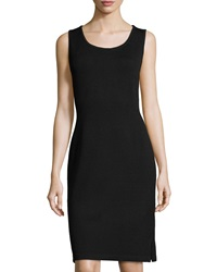 St. John Scoop Neck Knit Tank Dress Black