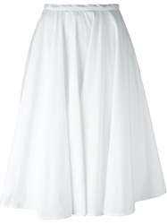 Rochas Pleated Full Midi Skirt White