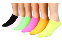 Hue Microfiber Liner 6 Pair Pack Neon Women's Low Cut Socks Shoes Yellow
