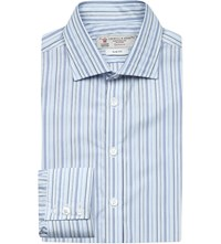 Turnbull And Asser Striped Slim Fit Cotton Shirt Blue