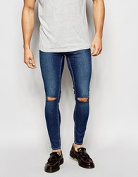 Cheap Monday Exclusive Jeans Mid Spray Extreme Super Skinny Mid Blue Ripped Knee Midblue