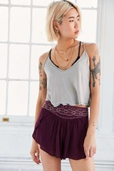 Ecote Evelyn Embroidered Yoke Short Plum