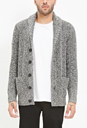 Forever 21 Shawl Collar Marled Cardigan Black White