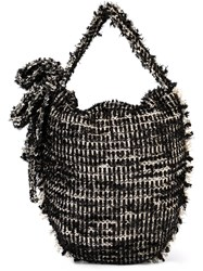 Simone Rocha Frayed Woven Shoulder Bag Black