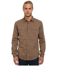 Mavi Jeans Folded Sleeve Shirt Walnut Men's Clothing Brown
