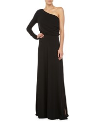 Halston Long Sleeve One Shoulder Gown Black