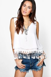Boohoo Crochet Trim Strappy V Neck Cami White