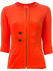 And Re Walker Zipped Fitted Cardigan Yellow And Orange