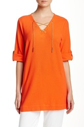 Joan Vass Chainlink Lace Up Tunic Petite Orange