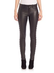 Set Lace Up Paneled Leather Leggings Black