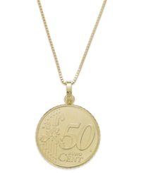 Macy's Vermeil Engraved Euro Coin Pendant Necklace