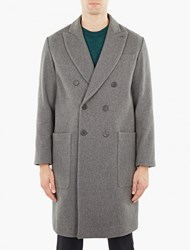 Ami Alexandre Mattiussi Grey Oversized Double Breasted Wool Coat